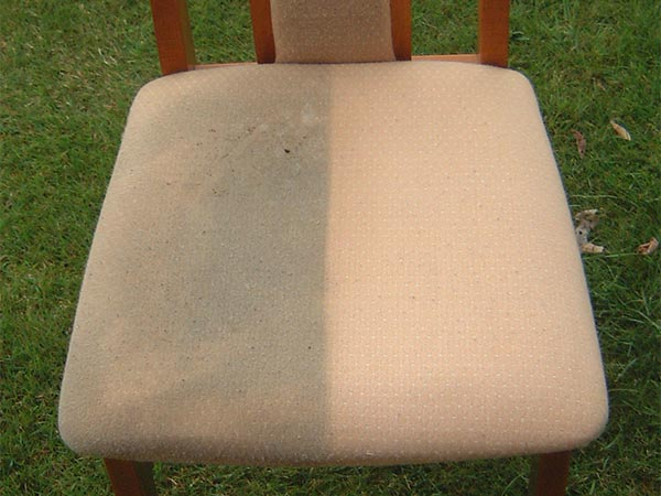Upholstery cleaning results on kitchen chair